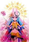 bad_id blue_eyes blue_hair cat_ears cross crown_of_thorns flower hair_ornament highres hime_cut jewelry midriff moonyan necklace original solo spider_lily