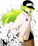 green_eyes green_hair hat highres jewelry long_hair male n_(pokemon) necklace necklaces oda pokemon pokemon_(game) pokemon_black_and_white pokemon_bw
