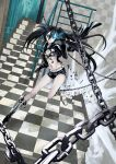 bikini_top black_hair black_rock_shooter black_rock_shooter_(character) boots chain checkered checkered_floor highres hot_pants long_hair navel realmbw short_shorts shorts solo stairs twintails