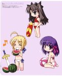absurdres ahoge balloon bikini black_(artist) blonde_hair blue_eyes blush chibi excalibur fate/stay_night fate_(series) food fruit hair_ribbon happy highres matou_sakura multiple_girls musical_note purple_eyes purple_hair ribbon saber side-tie_bikini swimsuit sword takeuchi_takashi tohsaka_rin toosaka_rin type-moon violet_eyes watermelon weapon