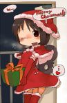 1girl :d black_eyes black_hair breath capelet doorway dress elbow_gloves garter_straps gift gloves hat heart holding_gift masha merry_christmas nichijou open_mouth santa_costume santa_hat shinonome_nano short_hair smile solo spoken_heart thighhighs winding_key wink