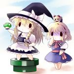 2girls alice_margatroid chibi crossover hat highres kirisame_marisa multiple_girls mushroom nintendo object_on_head parody shanghai shanghai_doll smile super_mario_bros. touhou warp_pipe yume_shokunin