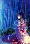 1girl bamboo_forest black_hair caidychen fireflies flower forest highres houraisan_kaguya japanese_clothes lantern long_hair nature night paper_lantern purple_eyes red_eyes shide signature sitting solo torii touhou wide_sleeves