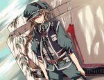 androgynous bad_id belt blood braid brown_eyes brown_hair dutch_angle hat long_hair original shade sky smile solo sunlight sword wall weapon yuki_(fuguneko)