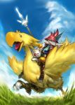 burmecian chocobo final_fantasy final_fantasy_ix freija_crescent freya_crescent hair_over_one_eye hat head_wings jintetsu moogle polearm riding spear talons weapon white_hair
