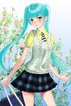 aqua_eyes aqua_hair bad_id bag flower hatsune_miku miki_yuriko necktie pleated_skirt school_uniform skirt solo twintails vest vocaloid