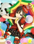 1girl akb48 aqi black_eyes black_hair bubble cup frilled_skirt hands_together hat panda sitting solo striped striped_legwear teacup twintails umbrella wariza watanabe_mayu wrist_cuffs