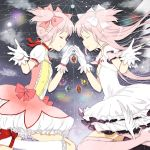 2girls chizuru_(dishing) colored_eyelashes dress dual_persona gloves goddess_madoka hair_ribbon kaname_madoka long_hair mahou_shoujo_madoka_magica multiple_girls pink_hair ribbon short_hair smile soul_gem thigh-highs twintails two_side_up white_dress