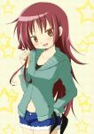 1girl fang hair_down hair_ribbon hand_on_hip long_hair mahou_shoujo_madoka_magica navel open_mouth red_eyes redhead ribbon sakura_kyouko short_shorts shorts smile solo star tsubaki_(tatajd) tsurime