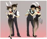 2girls animal_ears bad_id black_hair bunny_ears bunnysuit detective_conan fishnet_pantyhose fishnets gloves gradient gradient_background grey_background hattori_heiji kudou_shin'ichi kudou_shinichi legs long_hair mo_ko mouri_ran multiple_boys multiple_girls pantyhose pink_background rabbit_ears short_hair tooyama_kazuha tray waiter