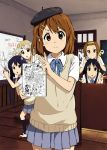brown_eyes brown_hair ebibaachan face hat highres hirasawa_yui k-on! kotobuki_tsumugi nakano_azusa pose protractor ruler school_uniform scissors short_hair tainaka_ritsu whiteboard