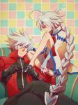 1boy 1girl ahoge barefoot blade blazblue bodysuit braid bridal_gauntlets cape couch crossed_legs eyepatch gloves green_eyes heart heterochromia long_hair male nail_polish nu-13 ofuda ragna_the_bloodedge red_eyes silver_hair sitting smile very_long_hair white_hair