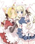 1girl alternate_costume animal_ears apron bad_id blonde_hair blush cat_ears cat_tail colored_eyelashes couple crossdressing edward_elric enmaided eyelashes fullmetal_alchemist hair_ribbon heart holding_hands kemonomimi_mode long_hair maid mitsu_yomogi open_mouth ribbon smile sweatdrop tail winry_rockbell
