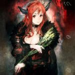 1girl album_cover breasts choker cleavage cover demon_horns dress fake_horns fur_trim highres holding horns lips long_hair looking_at_viewer maou_(maoyuu) maoyuu_maou_yuusha official_art red_eyes redhead smile solo toi8 wheat