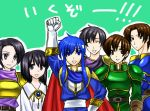 armor black_hair blue_eyes blue_hair brother_and_sister brown_eyes brown_hair cape celice celice_(fire_emblem) clenched_hand closed_eyes dimna dimna_(fire_emblem) fire_emblem fire_emblem:_seisen_no_keifu fire_emblem_genealogy_of_the_holy_war fist gloves grey_eyes headband mana_(fire_emblem) radney radney_(fire_emblem) raised_fist roddlevan roddlevan_(fire_emblem) short_hair siblings smile translated translation_request tristan_(fire_emblem)