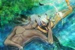 bikini blue_eyes cat_ears dark_skin doraeshi elf elvaan final_fantasy final_fantasy_xi height_difference lying mithra muscle pointy_ears side-tie_bikini size_difference swimsuit tail topless water white_hair