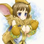 blue_eyes blush breasts brown_hair bunny_ears center_opening chrono_cross cleavage fur janice monster_girl paws rabbit_ears tamichan