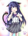 animal_ears bell blue_hair blush bow cat_ears cat_tail closed_eyes fang furude_rika higurashi_no_naku_koro_ni kazura long_hair open_mouth paw_pose skirt solo standing suspenders tail