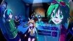 3boys 5girls akahane_daisuke arms_up blonde_hair blue_eyes blue_hair brown_hair chair character_name clock detached_sleeves food gloves goggles goggles_on_head green_eyes green_hair grin gumi hair_ornament hair_ribbon hairclip hatsune_miku headphones highres holographic_interface instrument kagamine_len kagamine_rin kaito kamui_gakupo karaoke long_hair maracas matryoshka_(vocaloid) megurine_luka meiko microphone midriff multiple_boys multiple_girls open_mouth pink_hair ribbon short_hair shorts sitting skirt smile twintails very_long_hair vocaloid