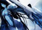 armor black_hair blue_eyes blue_skin cyborg gun hair_over_one_eye long_hair midriff original sachi_(pixiv) sachi_(yumemayoi) solo very_long_hair weapon