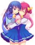 2girls aoki_reika blue_eyes blue_hair candy_(smile_precure!) closed_eyes hoshizora_miyuki hug long_hair mogeo multiple_girls pink_hair precure scarf school_uniform short_hair smile smile_precure!