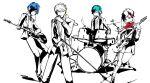 bass_guitar blue_hair drum female_protagonist_(persona_3) green_eyes green_hair guitar instrument kanzato_shin microphone narukami_yuu persona persona_3 persona_3_portable persona_4 persona_trinity_soul red_eyes seta_souji spot_color yamada_maya yellow_eyes