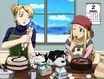 2girls bandana black_hayate blonde_hair blue_eyes brown_eyes cake chocolate cooking den_(fullmetal_alchemist) dog food fullmetal_alchemist hair_ornament hairclip highres multiple_girls pastry riza_hawkeye sleeves_rolled_up snow wallpaper winry_rockbell