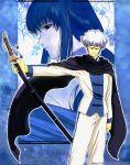 brother_and_sister formal glasses male rurouni_kenshin scarf siblings suit sword weapon white_hair yukishiro_enishi yukishiro_tomoe