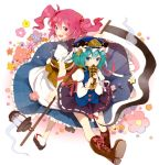 back-to-back blush boots covering_mouth flower frown ghost green_eyes green_hair hair_bobbles hair_ornament hat lantern mousariababa multiple_girls onozuka_komachi red_eyes red_hair rod_of_remorse scythe shikieiki_yamaxanadu short_hair smile touhou twintails