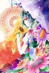 bad_id butterfly colorful flower green_hair holding holding_flower kazami_yuuka kazu_(muchuukai) parasol plaid_vest profile red_eyes short_hair sideways_mouth skirt solo sunflower touhou umbrella
