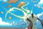 battle electricity matt_cummings no_humans o_o ocean pelipper pokemon pokemon_(creature) registeel roboteching sky water wingull