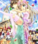 angel_beats! arizuki_shiina arizuki_ui balloon blonde_hair blue_eyes bride brown_hair carrying church closed_eyes company_connection crossover dress formal futaki_kanata gun highheels himuro_yuuki key_(company) kud_wafter little_busters! naoe_riki noumi_kudryavka onaka_sukisuki panties pantyshot pink_dress pink_panties princess_carry school_uniform short_hair suit tenshi_(angel_beats!) thigh-highs thighhighs tokido_saya underwear weapon wedding wedding_dress wink