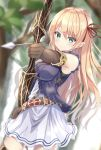 1girl aqua_eyes archery arisa_(shadowverse) armlet armpit_crease arrow belt blonde_hair blurry blush bow_(weapon) breasts commentary_request cowboy_shot day depth_of_field dress elbow_gloves eyebrows_visible_through_hair forest furrowed_eyebrows gloves hair_between_eyes hair_ribbon highres impossible_clothes kichi_(kichifav) layered_dress light_frown long_hair looking_at_viewer medium_breasts nature outdoors pointy_ears ribbon shadowverse solo weapon white_dress