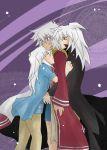 androgynous bakura_ryou hug long_hair male striped striped_shirt tan thief_king_bakura white_hair yami_bakura yuu-gi-ou