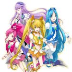 bad_id blonde_hair blue_dress blue_eyes blue_hair boots cure_blossom cure_marine cure_moonlight cure_sunshine dress futari_wa_precure hair_ribbon hanasaki_tsubomi heart heartcatch_precure! jpeg_artifacts kurumi_erika long_hair magical_girl midriff momomura multiple_girls myoudouin_itsuki navel orange_dress pink_dress pink_eyes pink_hair ponytail precure purple_eyes purple_hair ribbon skirt thigh-highs thighhighs tsukikage_yuri twintails violet_eyes wrist_cuffs yellow_eyes