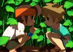 brown_hair cargo_pants caterpillar_(artist) endou_mamoru grin headband inazuma_eleven leaf male melomo multiple_boys plant sandals short_hair smile tachimukai_yuuki