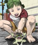 4chan drawfag feet foreshortening frog green_eyes green_hair hands koiwai_yotsuba realistic sketch yotsubato!