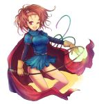 brown_eyes brown_hair cape dragon_quest dragon_quest_vi forehead gloves high_ponytail kara_(color) ponytail solo whip wink