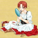 ahoge apron axis_powers_hetalia boots braid brown_eyes brown_hair cosmetics crossdressing dress hand_mirror high_heels lipstick lipstick_tube makeup_brush mirror northern_italy_(hetalia) ribbon shoes wig