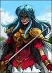 blue_eyes blue_hair bracelet cape earrings eirika fingerless_gloves fire_emblem fire_emblem:_seima_no_kouseki fire_emblem_sacred_stones gloves jewelry ki-ei long_hair lowres skirt sword weapon