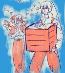 ? animal_ears apron blush carrying covering_mouth fujiwara_no_mokou heart japanese_clothes monochrome multiple_girls mystia_lorelei okamisty ponytail tasuki touhou wings yumiya
