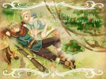 bandages barefoot blonde_hair cape closed_eyes english grass kneeling lying lying_on_back mushroom on_back panties red_eyes short_hair sleeping sword tree underwear weapon zoff_(daria)