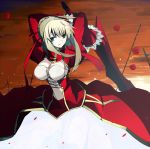 blonde_hair breasts cleavage cross fate/extra fate/stay_night fate_(series) flower green_eyes highres long_hair petals red_rose rose rose_petals saber_extra solo sword vane weapon