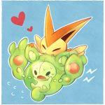 biting closed_eyes fangs heart kabocha_torute no_humans pokemon pokemon_(creature) pokemon_(game) pokemon_black_and_white pokemon_bw reuniclus sweat tears victini