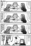 4koma bear comic fate/stay_night glasses kotatsu long_hair maboroshi_yuuki monochrome rider translation_request