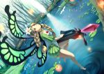 bare_legs bird blonde_hair bow_(weapon) braid brown_eyes butterfly butterfly_wings choker crossbow crystal dutch_angle fairy feet floating flower forest green_eyes hair_flower hair_ornament headdress lake lily_pad long_hair looking_up mercedes nature odin_sphere perspective pointy_ears pond ripples scenery tree twin_braids weapon wings yoshino_ryou