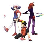 back backwards_hat baseball_cap black_hair blue_eyes blue_hair cabbie_hat crystal_(pokemon) earrings gloves goggles gold_(pokemon) grey_eyes hat hk_(nt) hoodie jacket jewelry kicking kneeling looking_back overalls pants poke_ball pokemon pokemon_special redhead shirt shoes silver_(pokemon) standing thigh-highs twintails white_thighhighs yellow_eyes