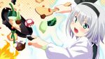cooking fire frying_pan green_eyes hairband konpaku_youmu makai_tenshi_jibril mirino mushroom mystia_lorelei mystia_lorelei_(bird) open_mouth parody short_hair silver_hair solo style_parody super_mario_bros. touhou