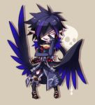 1boy black_hair boots brown_background chibi eyepatch japanese_clothes kyousaku male multicolored_hair mygrimoire original pointy_ears purple_hair raum_(mygrimoire) smile solo spiky_hair two-tone_hair wings
