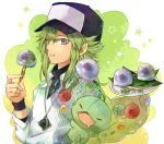 blue_eyes eating food green_hair hat jewelry n_(pokemon) pendant pokemon pokemon_(game) pokemon_black_and_white pokemon_bw reuniclus rinne_(pixiv)